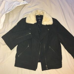 AEO lined bomber jacket with fur collar